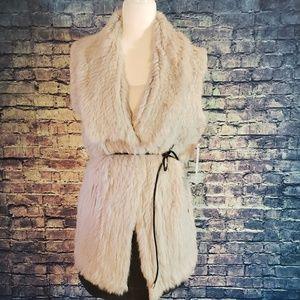 NWT Love Token Genuine Rabbit Fur Vest